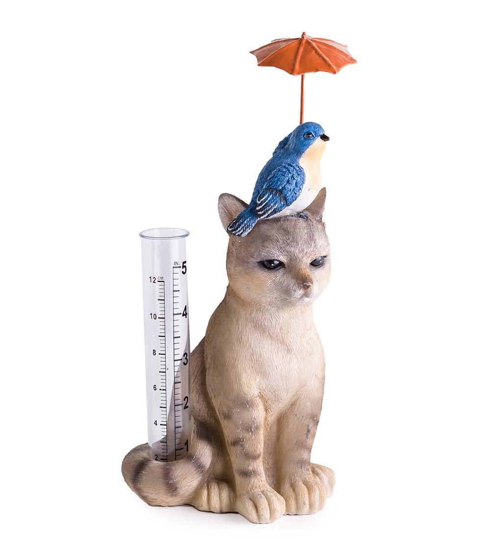Cat and Bird Rain Gauge - 4.33 L x 3.94 W x 9.45 H by Wind & Weather