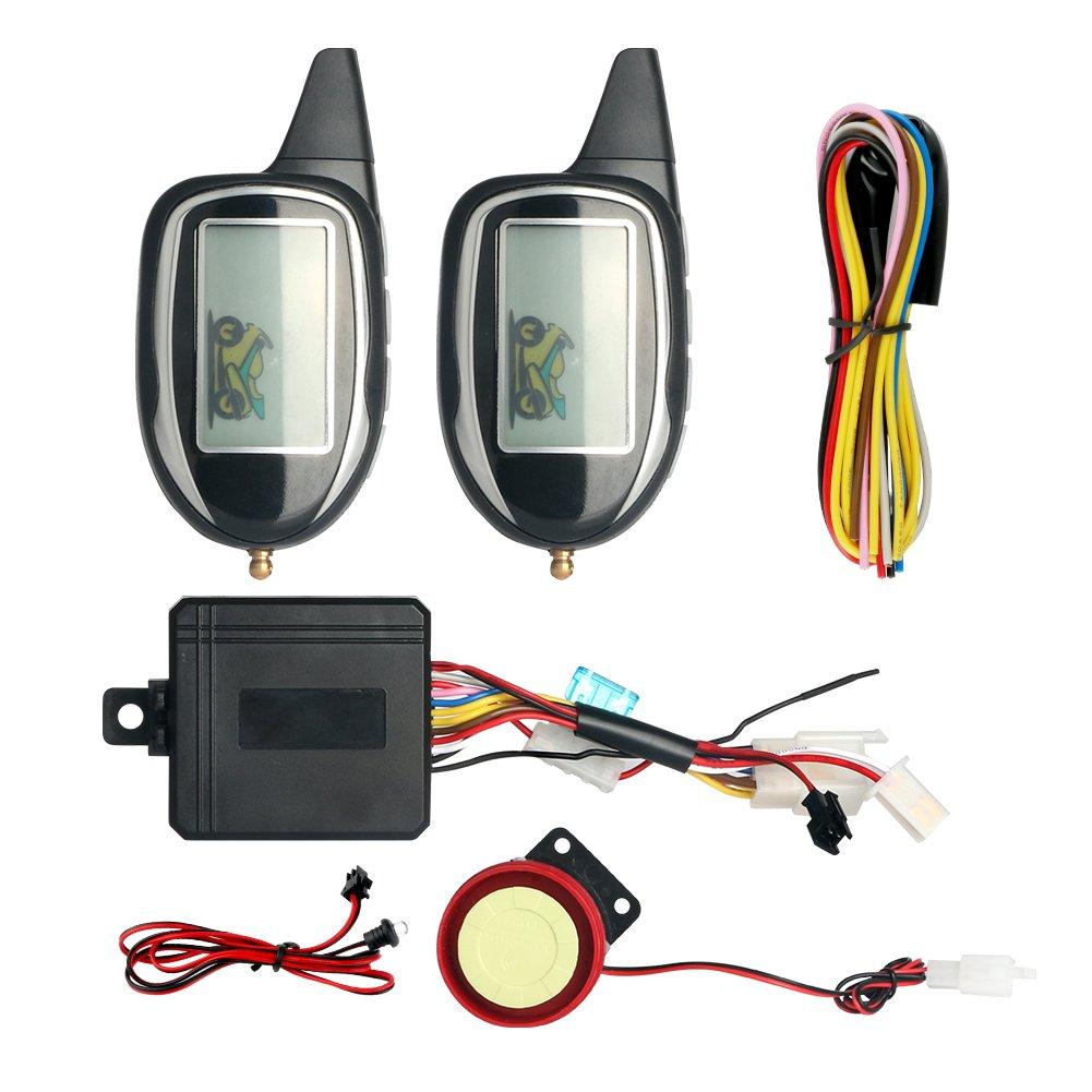 Easyguard em208 – 2 2 way LCD pantalla motocicleta sistema de alarma con mando a distancia Motor Start Sensor de movimiento y construido en Shock Sensor DC12 V