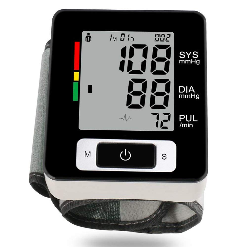 Automatic Wrist Blood Pressure Monitor Cuff FDA Approved Accurate Blood Pressure Monitor with 2 User Memory Storage LCD Display Pulse Hypertension Measurement Clear Reading