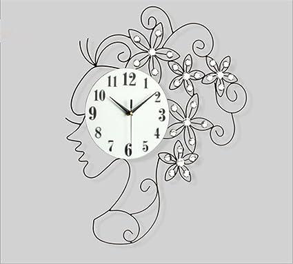 Relojes de Pared Sala Decorativo Arte Creativo Reloj Digital de Arte de Cuerpo Pastoral Moderno,
