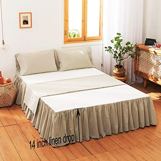 Simple Opulence 100 Belgian Linen Bed Skirt With Classic 14 Inch Tailored Drop Dust Ruffle Easy Fit Breathable Premium Natural Flax Pleated Linen King Kitchen Dining