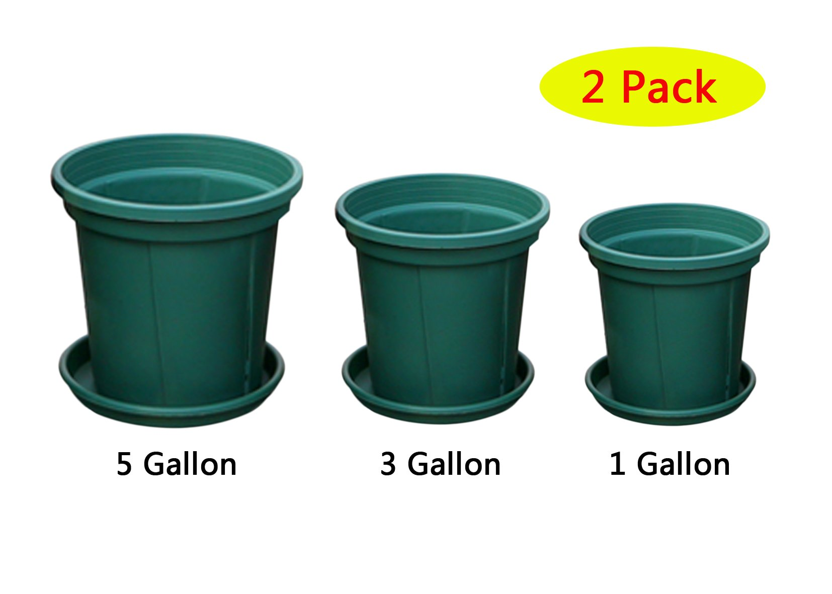 12Pcs Premium Plastic Nursery Planter Pot Container with Saucer For Balcony Vegetables Basin Grow or Indoor / Outdoor Garden Pots (6Pcs Plant Pots + 6Pcs Saucer - Two of them are About 1Gallon ,3Gall by coisound 1688
