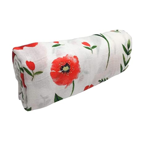 Security Blanket and More! 120cm x 120cm Ideal as a Blanket Nursing Cover Swaddle Red Poppy Bamboo//Cotton Muslin Blanket