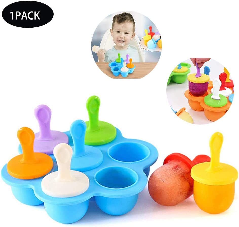 Silicone Popsicle Molds DIY Ice Pop Sticks 7-cavity Ice Pop Molds Food Grade DIY Popsicle Molds as Baby Food Freezer Trays Multi-Function Popsicle Mold Silicone Colorful DIY Ice Cream blue