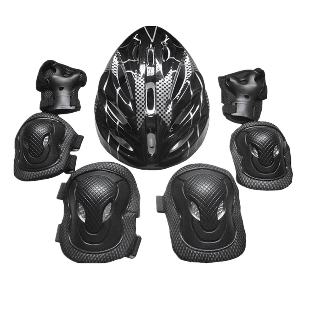 Homyl Adults Protective Gear Set Knee Pads Elbow Pads Hands Pads Helmet Sports Safety Guard Kit for Outdoor Cycling Roller Skating - Black, 26x20x13cm