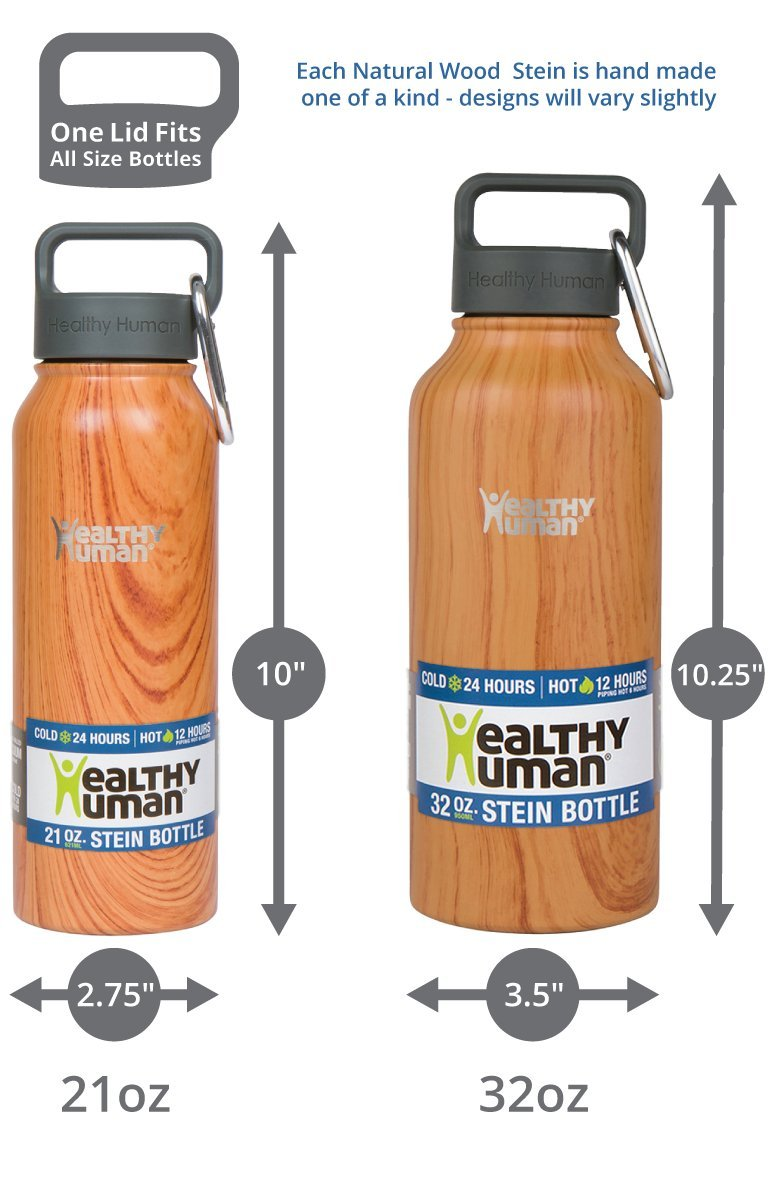 Healthy Human Stainless Steel Insulated Travel Sports Water Bottle Thermos - Leak Proof - No Sweating, Keeps Your Drink Hot & Cold - Natural Wood - 32 oz by Healthy Human (Image #3)