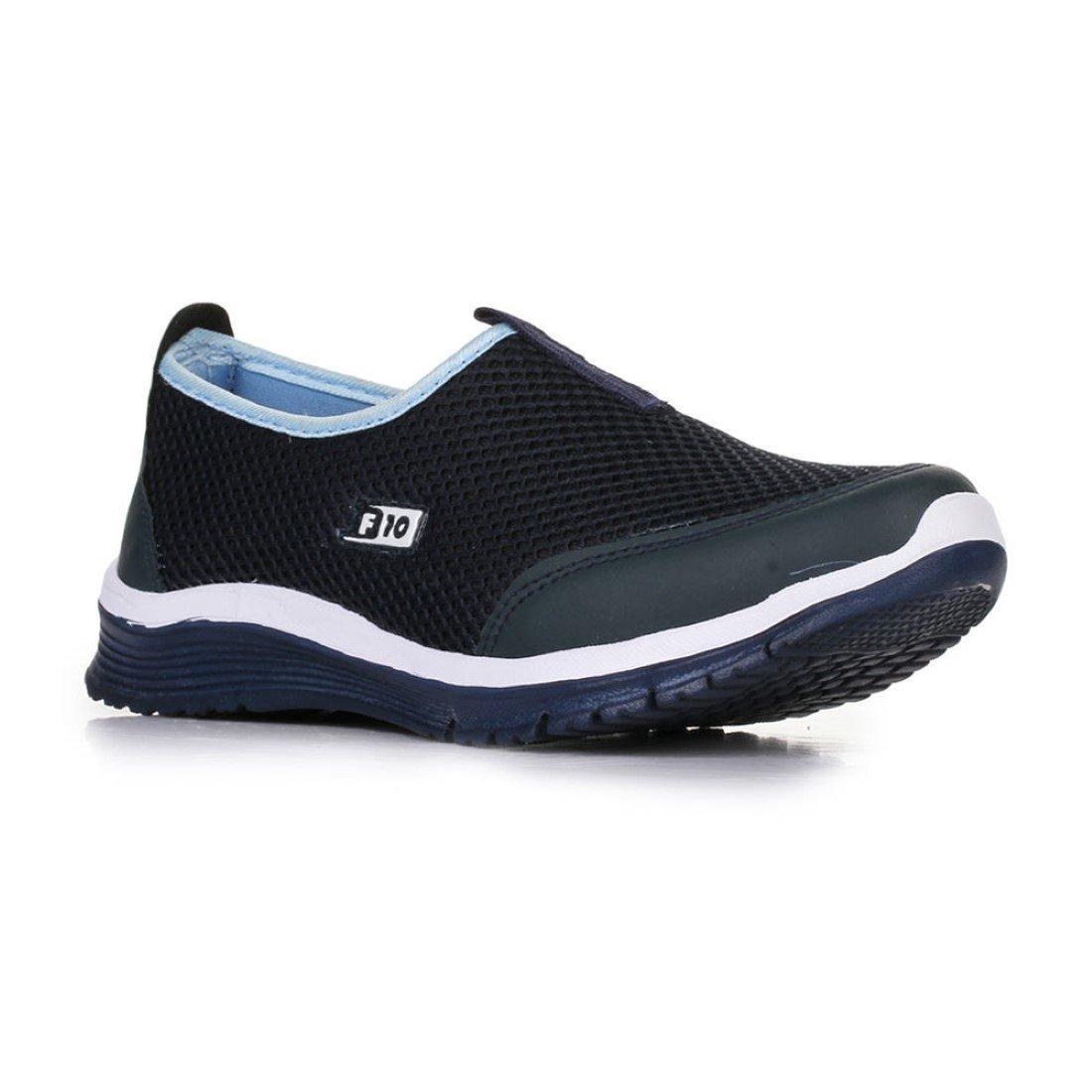 ladies sports blue non lacing shoes