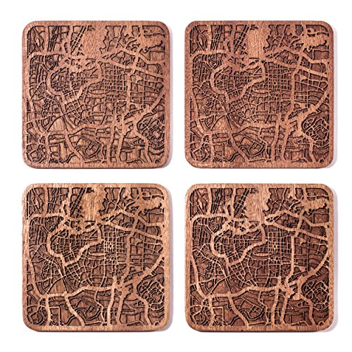 Guangzhou Map Coaster by O3 Design Studio, Set Of