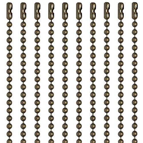 30 Inch Medieval Brass Finish Number 3 Ball Chain Necklaces 10 Count (Antique Brass Connector)