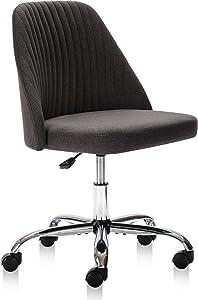 Home Office Chair, Modern Twill Fabric Chair Adjustable Desk Chair Mid-Back Task Chair Ergonomic Executive Chair-Dark Grey