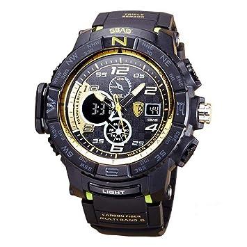 LW Reloj Deportivo para Hombre, Buceo, Buceo Luminoso, Multifunción, Reloj Electrónico, Reloj Militar, Hombres,Blackyellow: Amazon.es: Deportes y aire libre