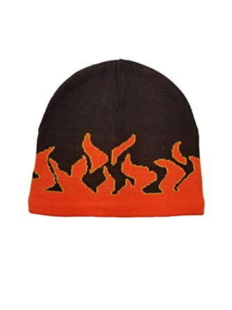 c9320e3d48d1a Image Unavailable. Image not available for. Color  Paris Accessories Men s  Brown with Orange Fire Flame Beanie Stocking ...
