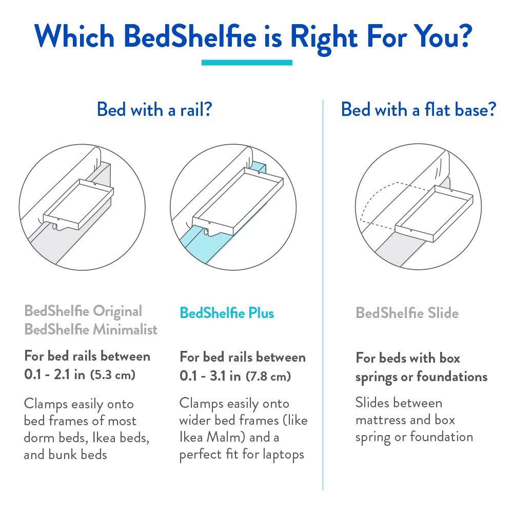 9 Colores // 3 tama/ños como SE VE EN Business Insider BedShelfie The Original Bedside Shelf Slide, Natural