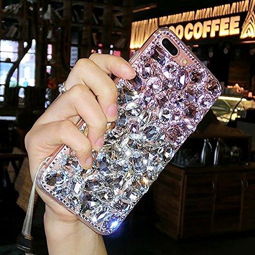 for LG Q6 Case, QKKE Luxury Handmade Crystal Rhinestone Soft Rubber Bumper Bling Red Full Diamond Glitter Case Cover for LG Q6 / Q6 Mini / Q6 Plus