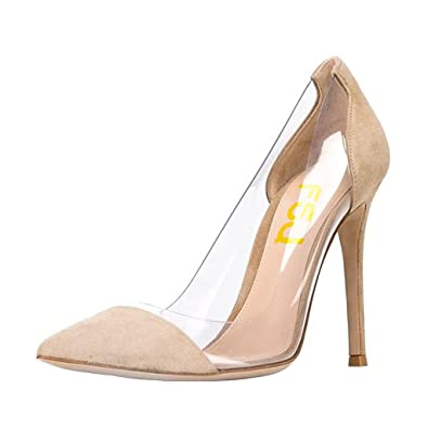 1bb2fc3d5ec FSJ Women Elegant Stiletto Clear Pumps High Heels Slip On Party Wedding  Dress Shoes Size 4