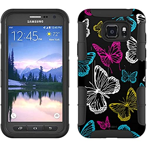 Samsung Galaxy S7 Active Armor Hybrid Case Vivaciuos Butterflies on Black 2 Piece Case with Holster for Samsung Sales