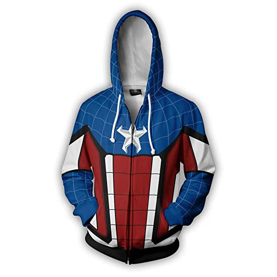 WQLESO Avengers 3 Capitán América de la Cremallera del Traje ...
