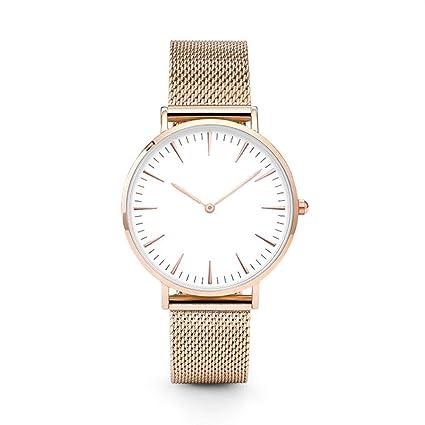 LILICAT Mujeres hombres de acero inoxidable de cuarzo reloj analógico pulsera relojes (Oro rosa)