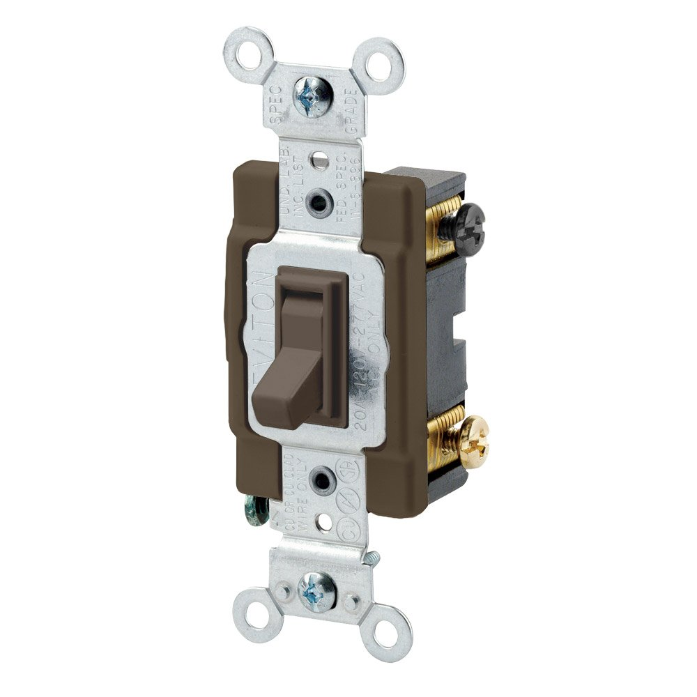 Leviton 54504-2 15-Amp, 120/277-Volt, Toggle Framed 4-Way AC Quiet Switch, Commercial Grade, Grounding, Brown