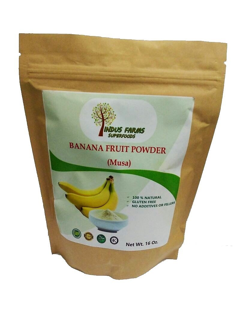 100% Pure & Natural Banana Fruit Powder, 16 oz, Gluten-Free, Eco-friendly pouch, Air tight & Resealable, NO Additives or Fillers, No Added Sugar by Indus Farms Superfoods