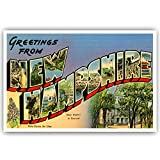 GREETINGS FROM NEW HAMPSHIRE vintage reprint postcard set of 20 identical postcards. Large letter US state name post card pack (ca. 1930's-1940's). Made in USA.