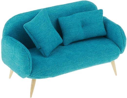 1:12 Scale Dollhouse Miniature Sofa DIY Dollhouse Furniture Accessories Blue