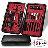 Manicure Set, UBEGOOD 16 In 1 Nail Kits, Stainless Steel Pedicure Nail Clippers Set, Professional Women & Men Grooming Nail Scissors Tools with Travel Case