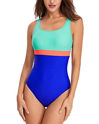 Haoshou Womens Colorblock Swimming Costumes Athletic Bathing Suit