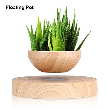 Magnetische Blumentopf Blumenvase Pflanzen Behälter Sich Rotierend  Magnetschwebebahn LED Holz Blume Bonsai Topf Mit Beleuchtung Für