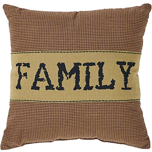 (VHC Brands Primitive Bedding Settlement Family Cotton Appliqued Chambray Plaid Square Pillow, Burgundy Red)