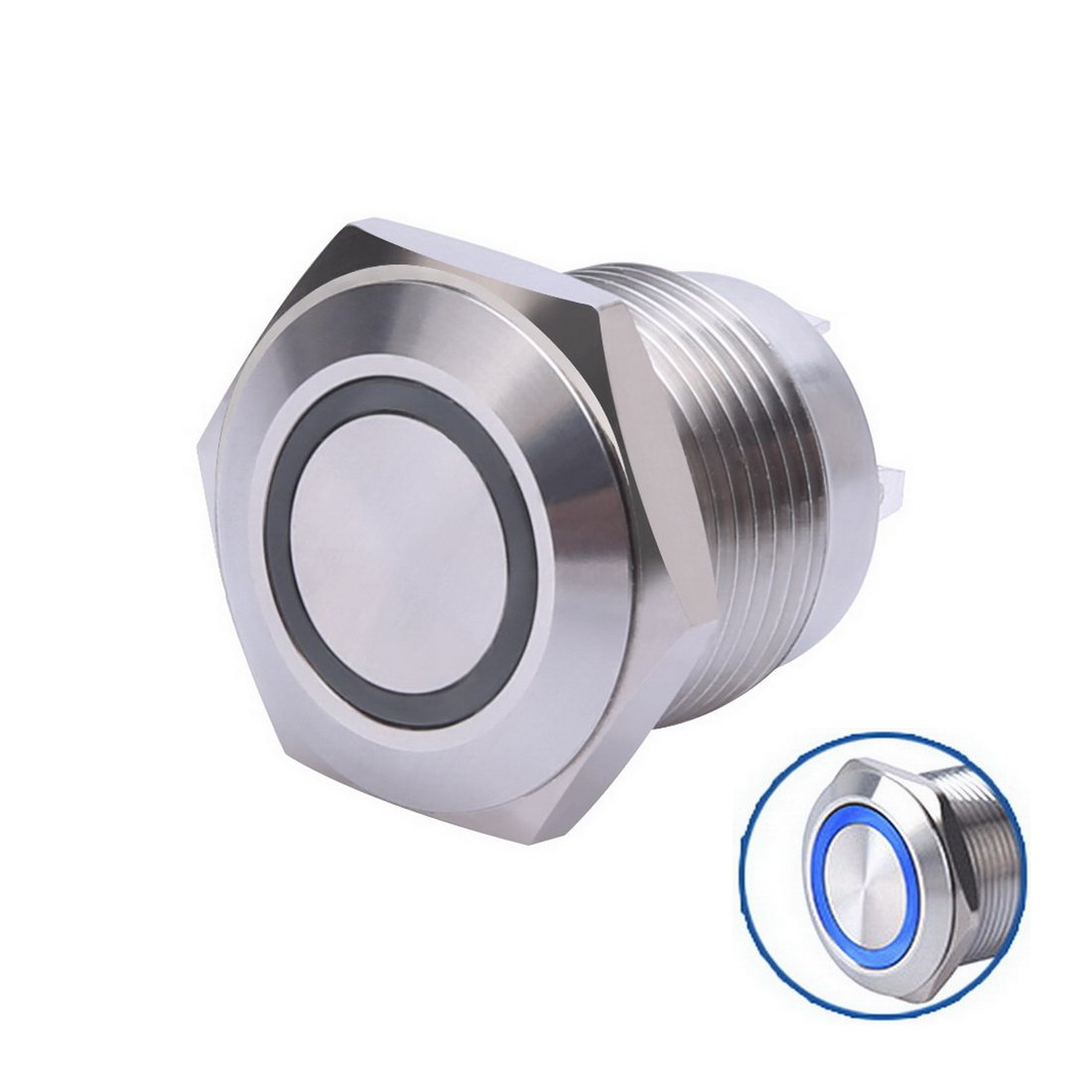 WerFamily 16mm Waterproof Momentary Stainless Steel Metal Push Button Switch Flat Top 250V 3A 1NO SPST