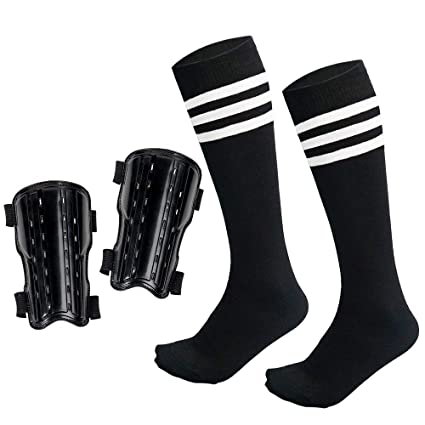f41eae2a389 chenyee Youth Shin Guards for Kids Protective Gear Soccer Protector Knee  High Socks Football Equipment Fit 5-12 Years Old Boys Girls Teenager Child  Sports ...