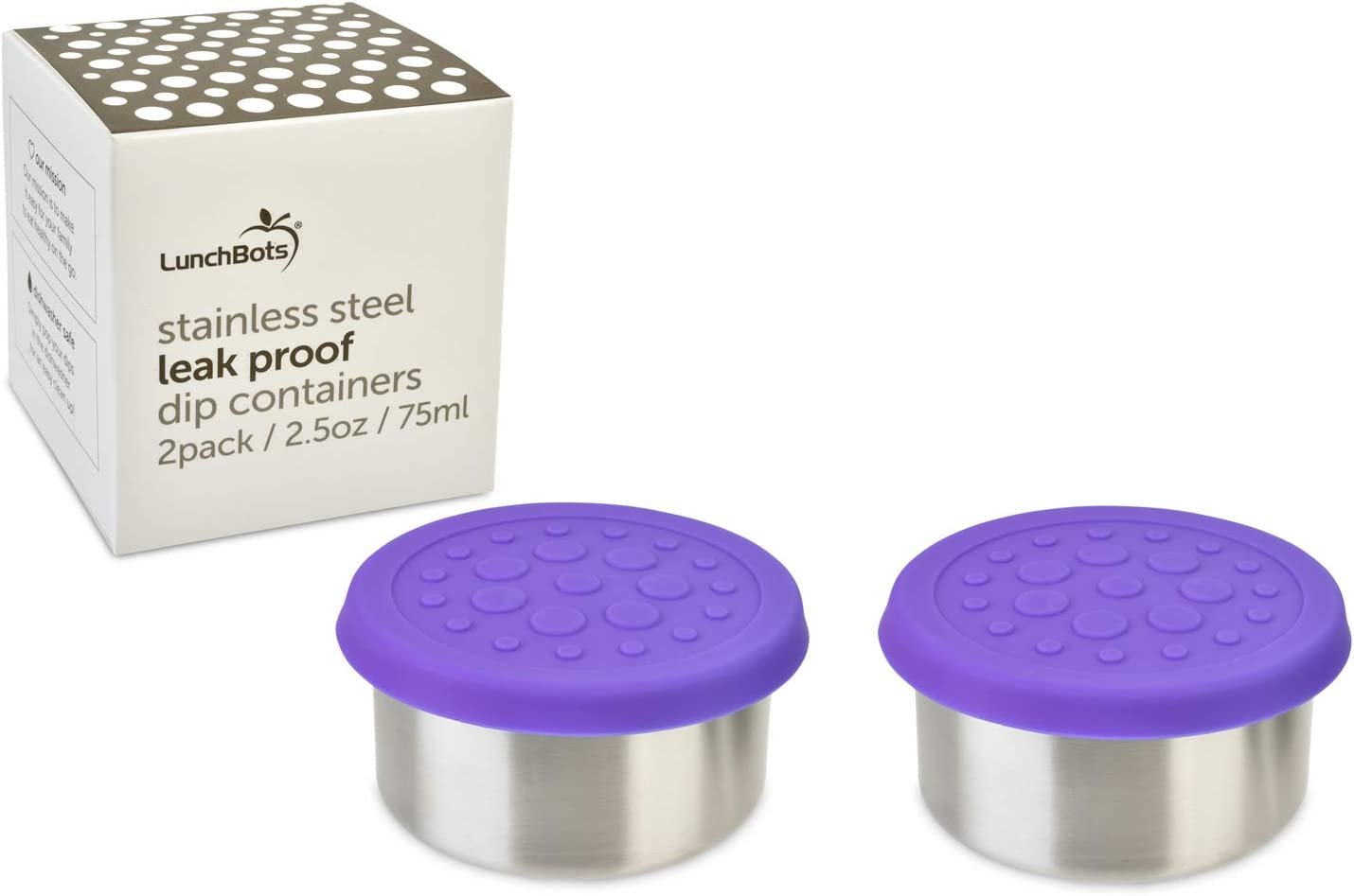 LunchBots 2.5 oz Leak Proof Dips Containers - Set of 2 (2.5 oz) - Spill Proof in Bags and Bento Boxes - Food Grade Stainless Steel with Silicone Lids - Dishwasher Safe - Purple