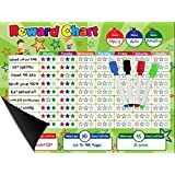 "Magnetic Behavior / Star / Reward Chore Chart, One Or Multiple Kids, Toddlers, Teens 17"" x 13"", Premium Dry Erase Surface, Flexible Chart with Full Magnet Backing for Fridge, Teaches Responsibility!"