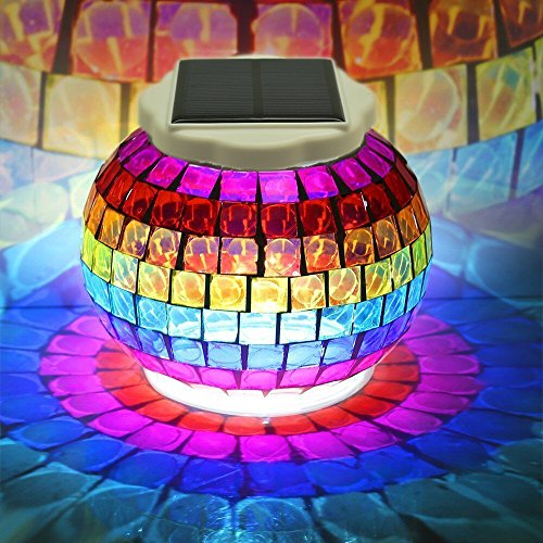 Changing Solar Garden Light (Solar Powered Mosaic Glass Ball Lights - Emoova Color Changing Waterproof Led Outdoor Garden Lawn Jar Lights Indoor Rechargeable Solar Table Night Lamp for Christmas Decorations and Ideal Gifts)
