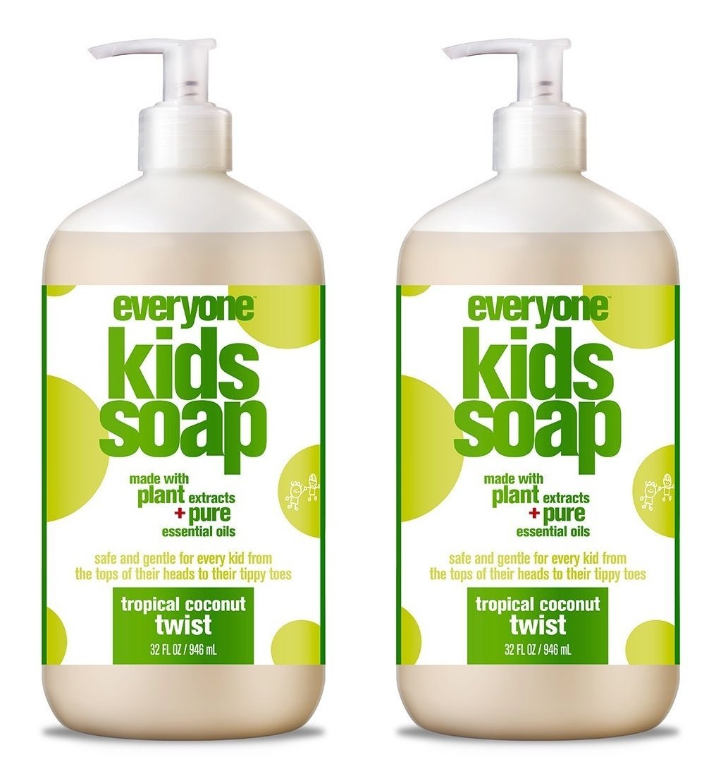 EveryOne For Kids 3-In-1 Tropical Twist Soap (Pack of 2) With Orange Peel Oil, Caster Seed, Grapefruit Peel, Vanillin, Aloe Leaf, Matricaria, Calendula, Linalol and Camelia Sinensis, 32 fl. oz. each