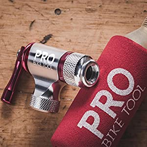 Pro Bike Tool CO2 Inflator By, Quick & Easy, Presta and Schrader Valve Compatible, Bicycle Tire Pump For Road and Mountain Bikes, Insulated Sleeve, No CO2 Cartridges Included