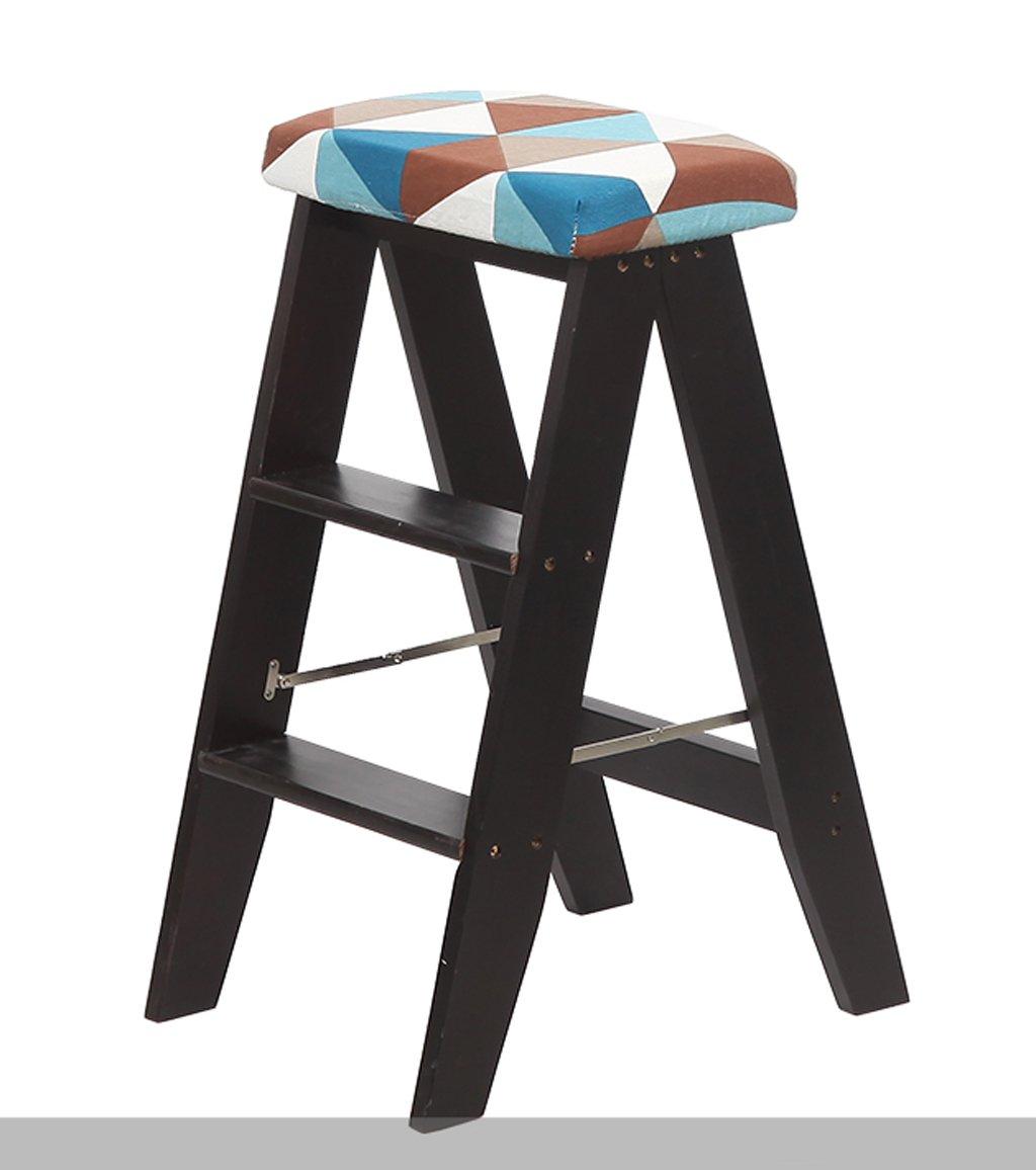 CAIJUN 折りたたみ式はしごのスツールデュアルユースのキッチンポータブルな小さなステップのはしごの無垢材シートカバー付き ステップ (色 : ブラック, サイズ さいず : 1#) B07DN6G91N  ブラック 1#