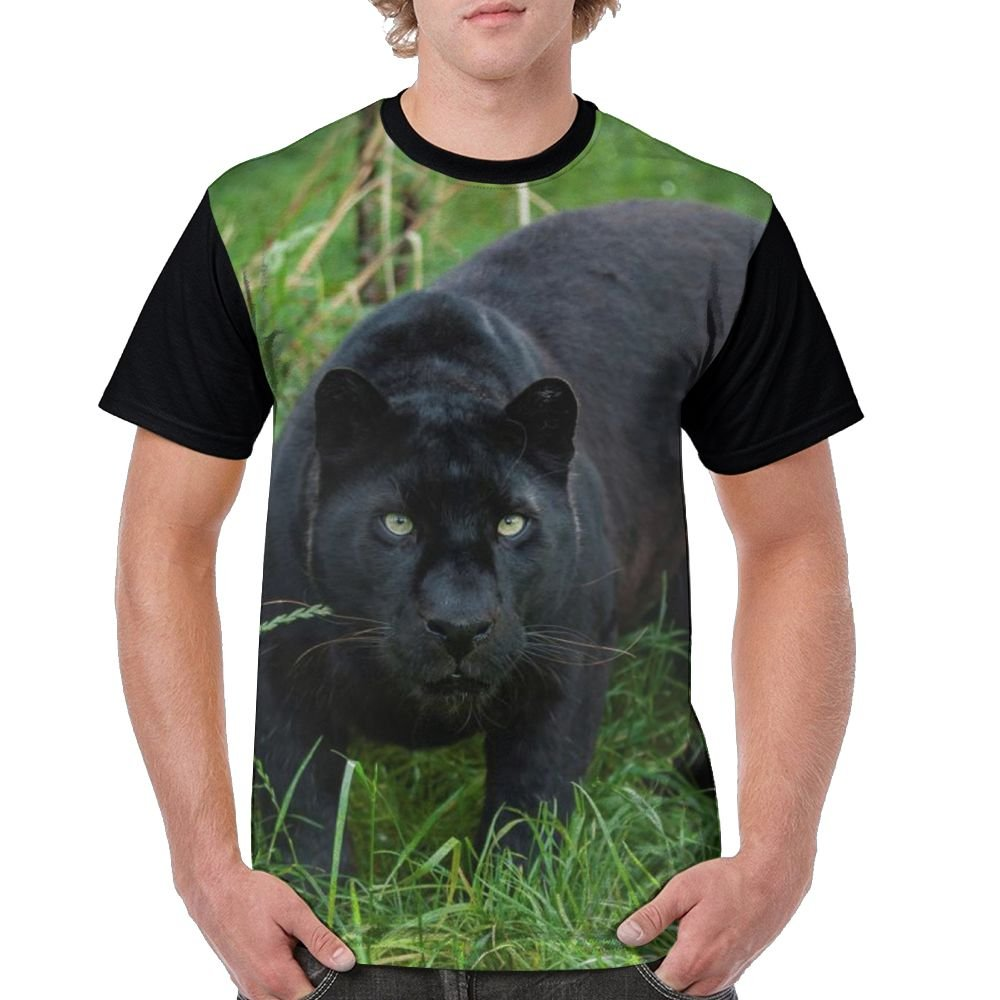 Black Leopard In Jungle Men's Raglan Short Sleeve Tops T-Shirt Novelty Undershirts Baseball Tees