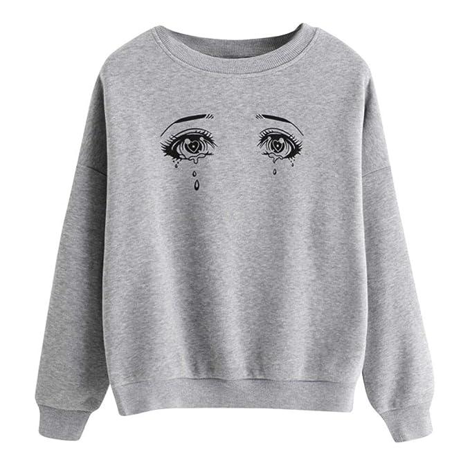 ... K-Youth Sudaderas Tumblr Mujer 2018 Otoño Invierno Ropa Moda Sexy Ojo Impresión Manga Larga Blusa Tops Hoodie Sweatshirt Adolescentes Chicas Camiseta: ...