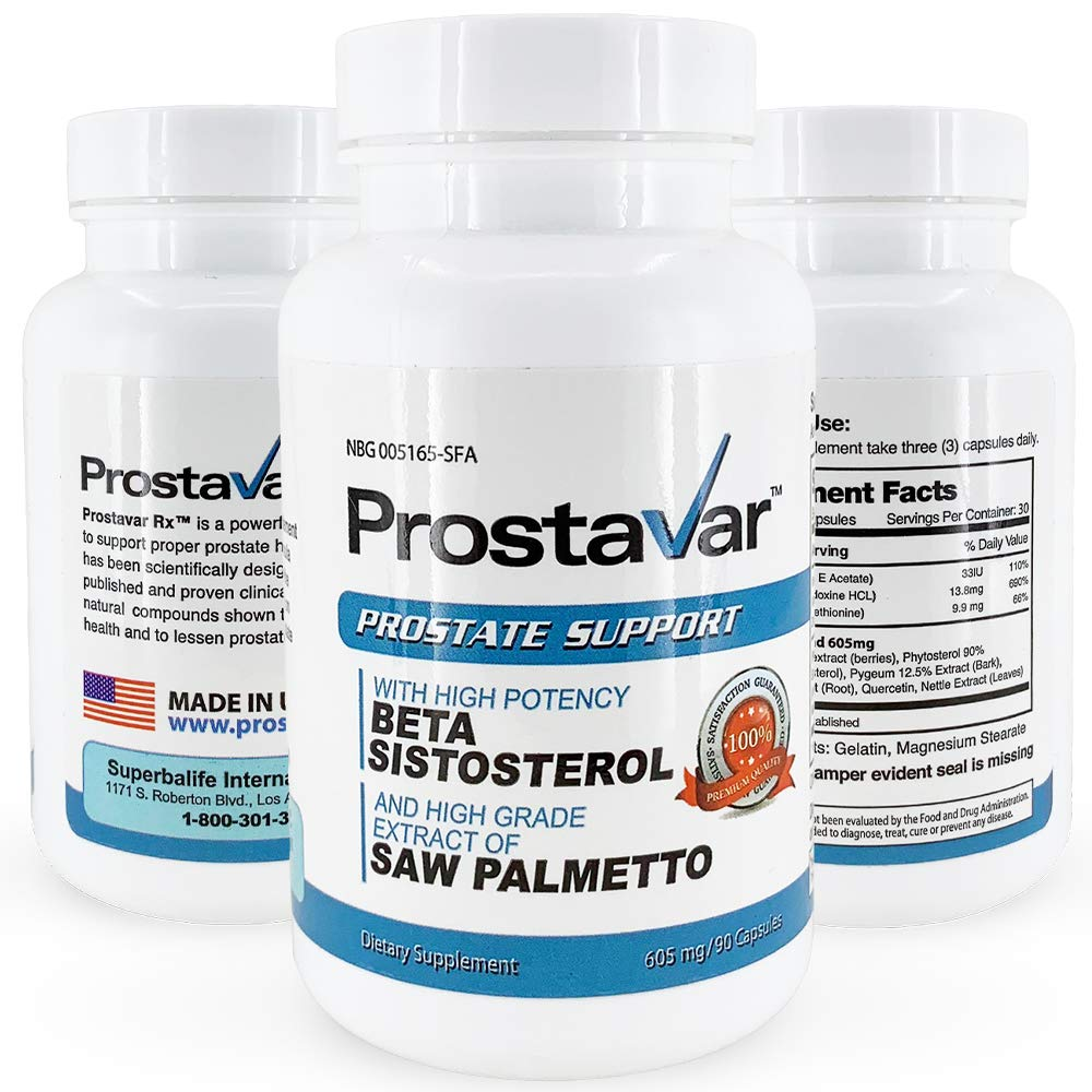 Prostavar Prostate Support with Saw Palmetto 605mg/90capsuels - 2 Bottles