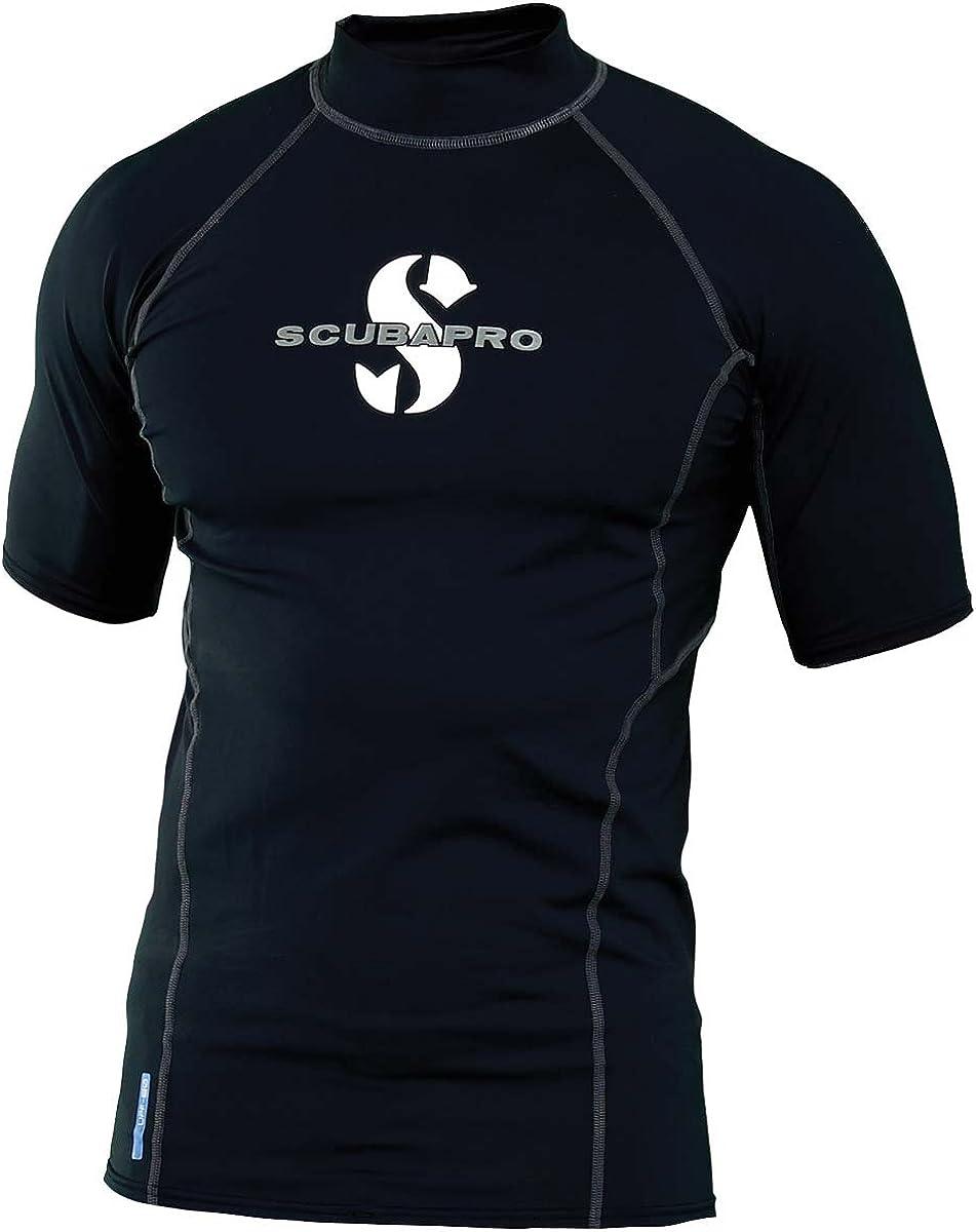 ScubaPro Men's UPF 80 T-Flex Short Sleeve Rash Guard, Black, Size: 2X-Large