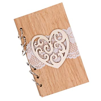 Amazon.com: Yiwa Elegant Wooden Wedding Notebook Wedding ...