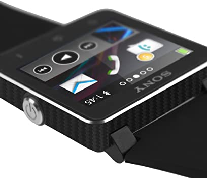 TechSkin with Anti-Bubble Clear Film Screen Protector Skinomi Black Carbon Fiber Full Body Skin Compatible with Sony Smartwatch 2 Full Coverage