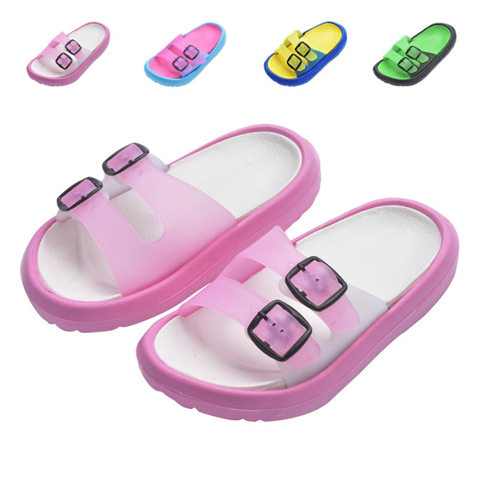 Toddler Little Kids Summer Sandals Non-Slip Boy Girl Slide Lightweight Beach Water Shoes Shower Pool Slippers (Little Kid 11.5-12.5M, Pink)