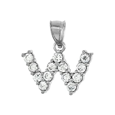 Sterling Silver Cubic Zirconia Initial Letter A to Z Alphabet Pendant Rhodium Finish, 1 2 inch tall