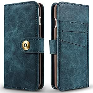 CNBEAU Retro Style Detachable Magnetic Leather Case Cover with Large Capity Card Cash Slots and Secure Rivet Buckle for iPhone 7 / 8 ( Color : Blue )