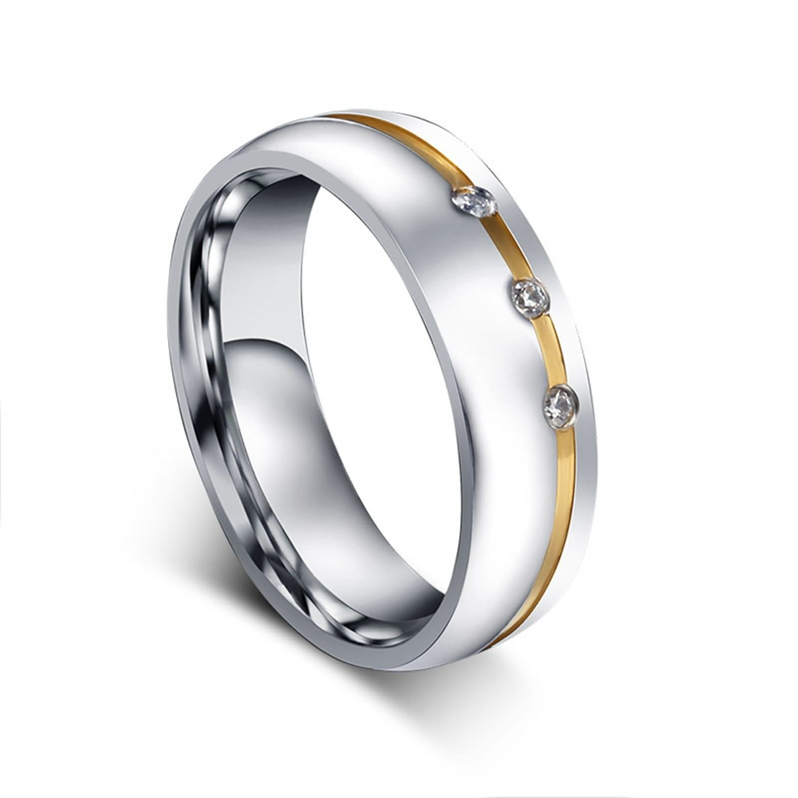 Beydodo Titanium Rings Set for Women Stainless Steel Ring Bands Round CZ Women Size 7 & Men Size 12 by Beydodo (Image #5)