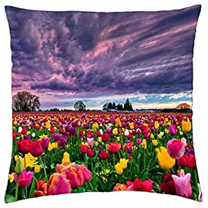 Tulips field at sunset - Throw Pillow Cover Case (18