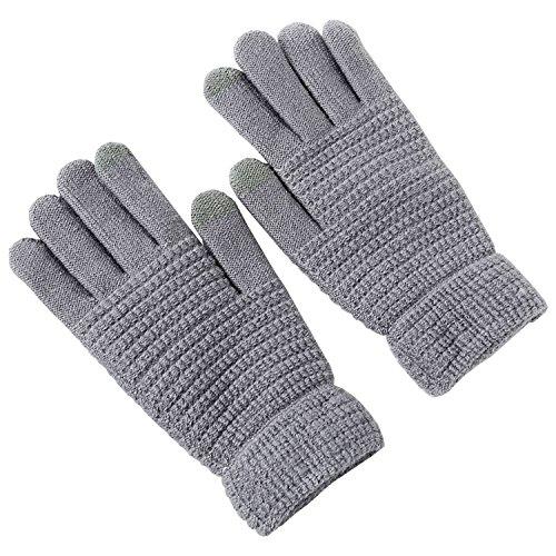YOMOSI スマホ対応手袋 レディース ニットグローブ タッチパネル対応 厚手 保温防寒性抜群 スポーツ 通勤通学運転など最適